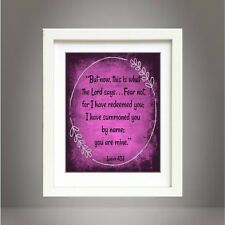 Isaiah 43:1 Scripture Art Bible Verse Inspirational Print Poster
