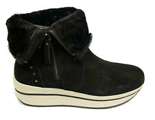 Carmela - 67421 Black Suede Leather Ankle Boots With Wedge Heel Side Zip