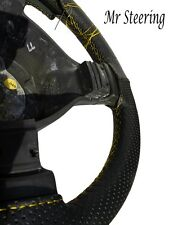 FITS AUDI A4 1994-2005 BLACK PERFORATED LEATHER STEERING WHEEL COVER YELLOW ST