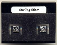 Celtic Square Sterling Silver 925 Studs Earrings Carded