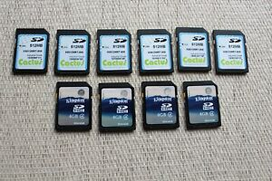 10 SD cards 4 GB and 512 Mb Kingston HC