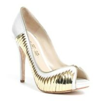"NEW L.A.M.B. White Gold Metallic Georgina Peep Toe Pumps Leather Heels,4"" US 10M"