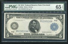 FR. 859a 1914 $5 FRN FEDERAL RESERVE NOTE CLEVELAND, OH PMG GEM UNC-65EPQ
