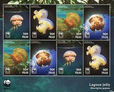 Palau 2014 MNH Lagoon Jelly WWF 8v M/S Marine Jellyfish
