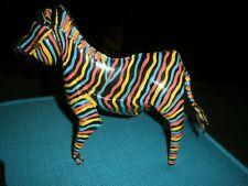 ORIGINAL Folk Art - Colorful Metal Zebra Zimbabwe