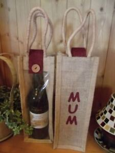 Mother's Day!  A  Hessian / Jute Wine Gift Bottle Bag saying 'MUM'