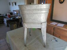 Vintage Single Galvanized Metal Wash Tub With Stand   Lot 17-39-60
