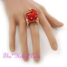 Manzana Roja Fruta Boho 18k Oro Distintivo Cóctel Vestido Anillo w cristales de Swarovski