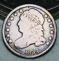 1834 Capped Bust Dime 10C DIE CRACK Large 4 Ungraded Good Silver US Coin CC6715