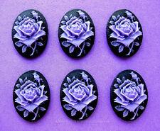 6 Unset PURPLE/LAVENDER ROSE on BLACK 25mm x 18mm Costume Jewelry Craft CAMEOS