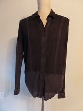 We the Free, Free People Black Mixed Media Hi/Low Button Down Blouse  XS