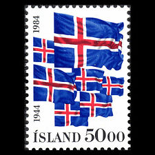 Iceland 1984 - 40th Anniversary of Iceland Republic Flags - Sc 591 MNH