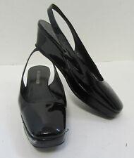 JIL SANDER Black Patent Leather Slingback Platform Wedges Size 35