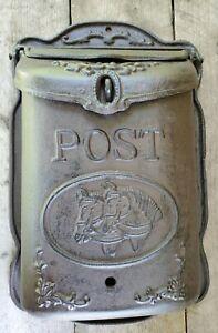 Heavy Duty Cast Iron Mailbox with Horses Rustic Western Decor