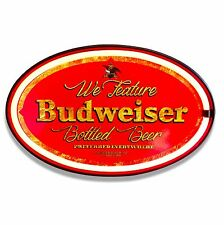 "Budweiser Beer LED Neon Lighted Sign, 16"" Oval, Home, Bar, Garage, or Man Cave"