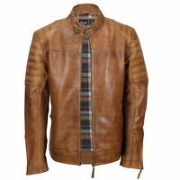 Mens Real Leather Biker Jacket Washed Tan Rust Brown Vintage Zipped Smart Casual