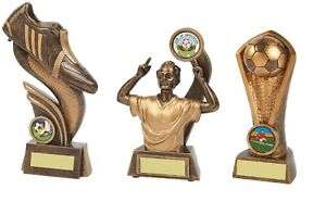 2x 6 & 1x 8 inch Football Trophy Awards engraved + posted free (RRP £29.85)