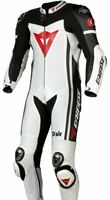 Brand New MotoGp 1 PC Motorbike Leather Racing Suit White All Sizes Available