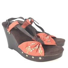 SEYCHELLES Orange Brown Floral Embroidered Strappy Slingback Wedge Sandals Sz 8