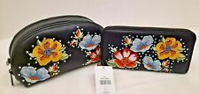 NWT Topshop Make-up Bag And Purse Black With Bold Flower Design and Sparkly Gems