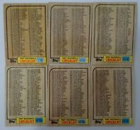 1987 Topps Unmarked Checklist Team Set of 6 Baseball Cards