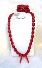 Igbo  Red Simulated Coral Groom men African Beads Jewellery Set