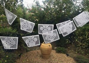 Mexican Papel Picado Banner- All White! Great For Weddings, Baptisms, LARGE