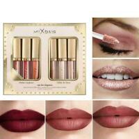 6 Farben/Set Matte Lip Gloss & Highlight Lippenstift Glitter Lidschatten N1 P2H9