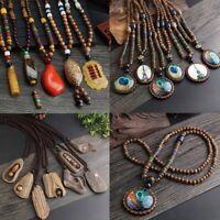 Nepal Buddhist Mala Resin Bead Horn Wood Long Pendant Necklace Sweater Jewelry