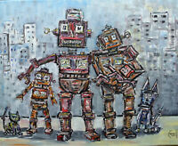 A ROBOT FAMILY PORTRAIT new BIG oil Painting canvas Original art signed Crowell