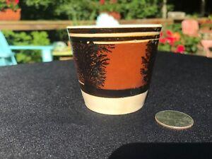 Antique Mochaware Handless CUP mug Mocha Ware Brown Black Seaweed pearlware