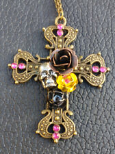 Skulls and Roses Cross, Gothic Cross, Fashion Necklace