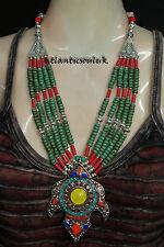 N21 Handmade Tibetan Turquoise Lapis Coral Amber resin Fashion Necklace Nepal