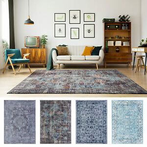 Large Rug Runner Black Orange Aqua Grey Blue Distressed Persian Carpet 200x290cm