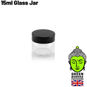 15ml Clear Glass Ointment Cosmetic Jars 38mm Black urea lids 1g Small Pot Lid UK