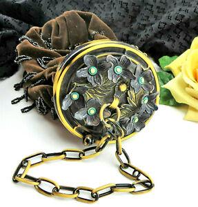 Antique Vtg Art Deco Celluloid Flower Frame Strap Beaded Velvet Purse Handbag
