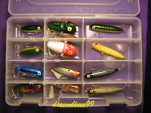 Heddon / Rebel Topwater Assortment - 12 Lures In Clear Tackle Box - New!