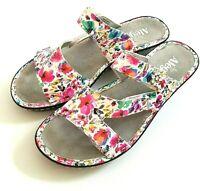 Alegria Loti Womens Wedge Sandals Perennial Floral White Leather EUR 39 - US 9