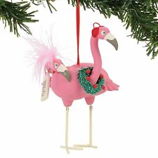 Pink Flamingo Bird Ornament Flamingling wearing Christmas Wreath New Dept 56