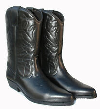 Mens New Genuine Soft Leather Tall Black Western Cowboy Boots Style 3000
