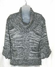 JANE NORMAN (UK12 / EU40) GREY/WHITE 3/4 SLEEVE JUMPER WITH WIDE ROLL NECK