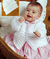 BABY MATINEE COAT & HAT KNITTING PATTERNS IN DOUBLE KNIT   16/20 INCH   (155)