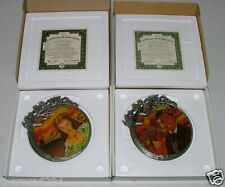 GONE WITH THE WIND RHETT & SCARLETT PEWTER & STAINED GLASS  COLLECTOR'S PLATES