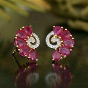 1.50CT Pear Cut Red Ruby & Diamond Stud Women's Earrings 14K Yellow Gold Finish
