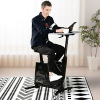 Desk Exercise Bike Home Office Indoor Recumbent Cycling Rolling with Table Top,
