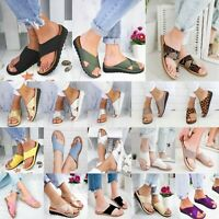 Women Wedge Heel Slippers Slip On Slider Comfy Flat Casual Sandals Shoes Size 10