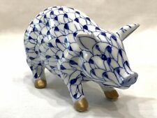 Vintage Andrea by Sadek Blue Fishnet Pig Porcelain Figurine With Golden Feet
