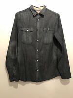 DARK BLUE DENIM SHIRT S RIVER ISLAND SUMMER TOWIE SMART SPORT GYM FOOTBALL