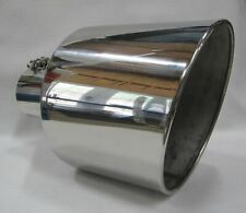 "FORD POWERSTROKE POLISHED STAINLESS BOLT ON DIESEL EXHAUST TIP 4""IN 10""OUT 15""L"