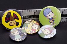 07 Yoshitomo Nara A to Z Girl Pin Badge Button 5 Sets Can Pin Badge From Japan